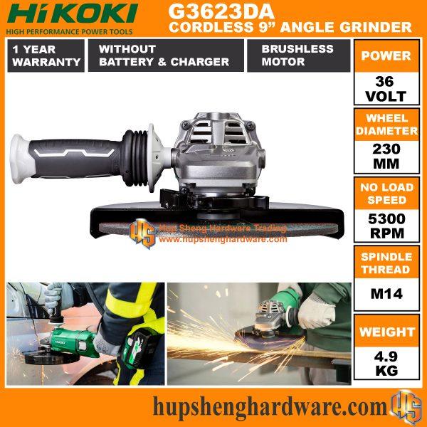 Hikoki G3623DA 9 Cordless Angle Grinder-2a