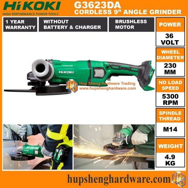 Hikoki G3623DA 9 Cordless Angle Grinder-3a