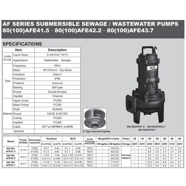 HCP 80(100)AFE42.2-43.7 Submersible Sewage Pump-2a