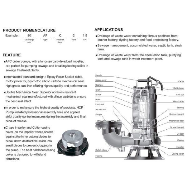 HCP 80AFC Sewage Cutter Pump-2a